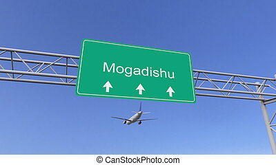 Twin engine commercial airplane arriving to Mogadishu...