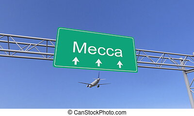 Twin engine commercial airplane arriving to Mecca airport....