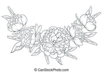 Peony rose laurel foliage garland black white - Peony rose...