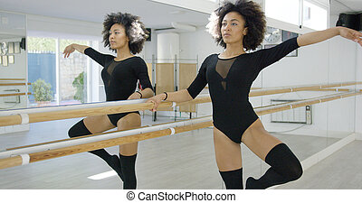Attractive young dancer warming up at the bar
