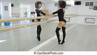 Attractive young dancer practicing at the bar