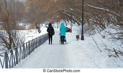 Woman walking with a baby carriage in winter park - young...