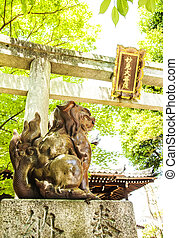 Entrance gate in Japanese Shinto shrine temple