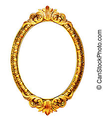 Gold wooden mirror frame isolated