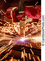 CNC Laser plasma cutting of metal, modern industrial...