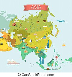 Map of Asia. - Travel and tourism background. Vector flat...