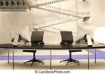 Reception desk in office - Front view and close up of...