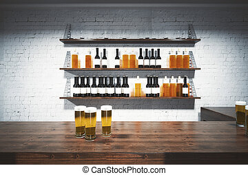 Bar counter front - Front view of wooden bar counter with...