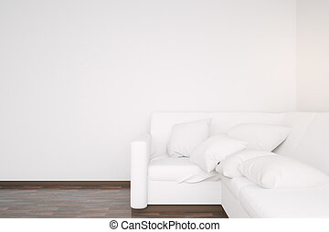 White sofa and blank wall - Side view of white couch in...