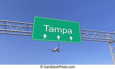 Twin engine commercial airplane arriving to Tampa airport....