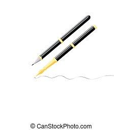 Two volume writing pen on white background