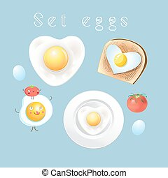 Graphic set of different tasty scrambled eggs on a light...