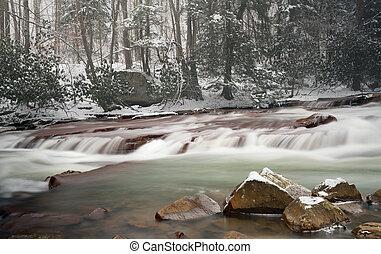 Waterfall on Muddy Creek near Albright WV - Winter snow shot...