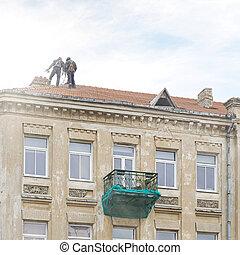 Roof repair of old building