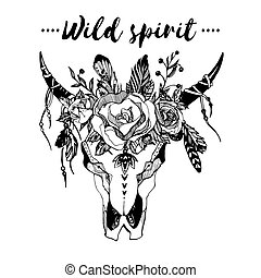 Boho chic image Fashion illustration Wild skull with flowers...