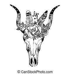 Boho chic image Fashion illustration Wild skull with flowers...