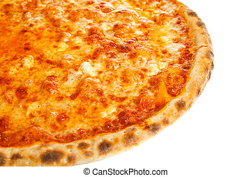 Part of delicious classic Hawaiian Pizza with chicken, pineapple and cheese