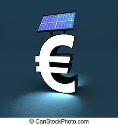 solar panel - euro sign with solar panel