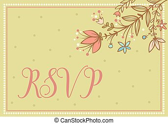 Wedding vector card with flowers and the words RSVP. -...