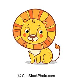 Cute Lion sits on a white background.