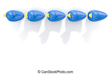 Ducks In A row - A row of organised and ready blue rubber...