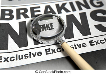 Fake News Newspaper - A fake news concept showing a printed...