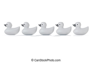 Ducks In A row - A row of organised and ready grey rubber...