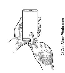 Smartphone hold male hand. Vintage engraving - Malle hands...