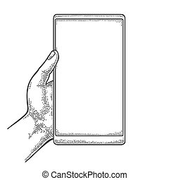 Smartphone hold male hand. Vintage drawn vector engraving -...