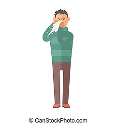 Illness flu man feeling cold and blowing his nose vector illustration.