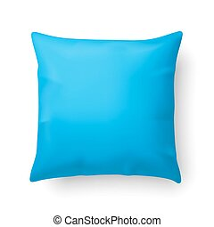 Pillow - Close Up of a Cyan Pillow Isolated on White...