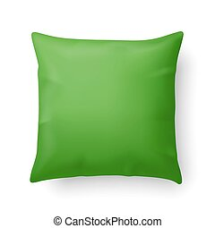 Pillow - Close Up of a Green Pillow Isolated on White...