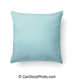Pillow - Close Up of a Aquamarine Pillow Isolated on White...