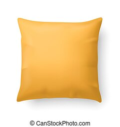 Pillow - Close Up of a Yellow Pillow Isolated on White...