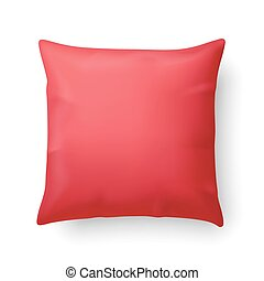 Pillow - Close Up of a Red Pillow Isolated on White...