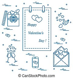 Cute vector illustration: calendar with Valentine's Day,...