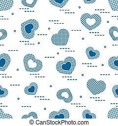 Cute seamless pattern with hearts in cell.