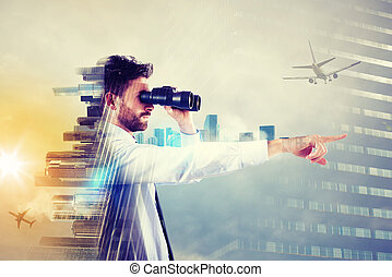 Businessman looking to the future - Businessman looks...