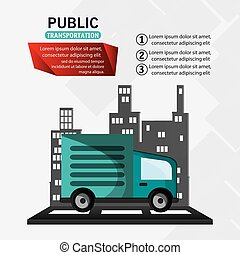 public transport truck delivery infographic vector...