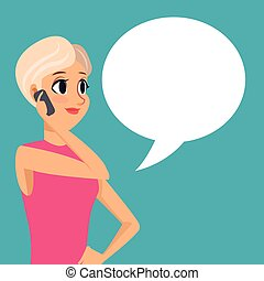 cartoon girl smartphone talk bubble speech vector...