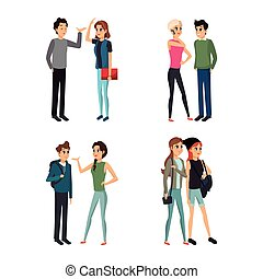 group people young talking vector illustration eps 10