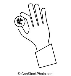 st patricks day hand holding coin clover thin line