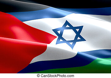 israel flag inside of palestine flag gaza strip waving texture fabric background, crisis of israel and islam palestine, union peace