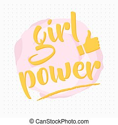 Girl power poster with thumb up and dots