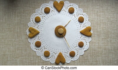 Hand made clock from cookies stop motion animation - Hand...