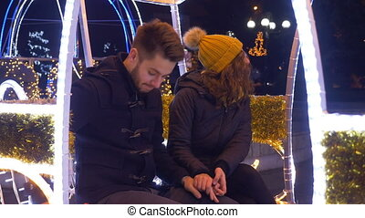 Marriage proposal in carriage on Christmas time in downtown...