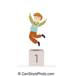 Boy took first place in sports. Award Ceremony Gold Medal winner. Flat character isolated on white background. Vector, illustration EPS10.