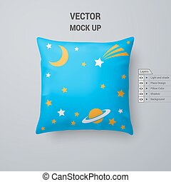 Pillow - Cyan Pillow with Space Pattern Isolated on White...