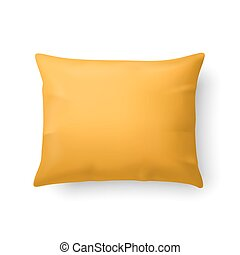 Pillow - Close Up of a Classic Yellow Pillow Isolated on...