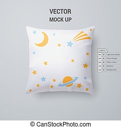 Pillow - White Pillow with Space Pattern Isolated for Design